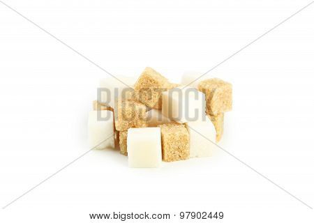 Brown And White Sugar Isolated On White
