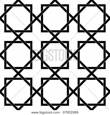 Black And White Geometric Seamless Pattern With Weave Stylish, Abstract Background.