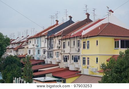 Colorful Houses In Singapore Downtown