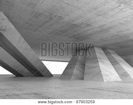 Abstract Empty Concrete Interior 3D Render