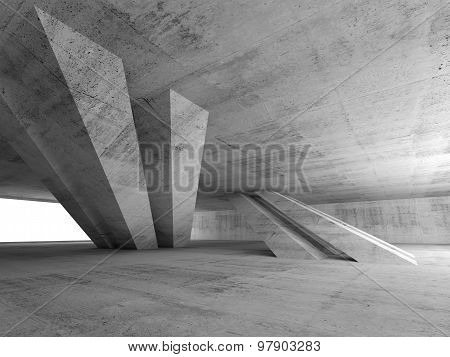 3D Abstract Empty Concrete Room Interior