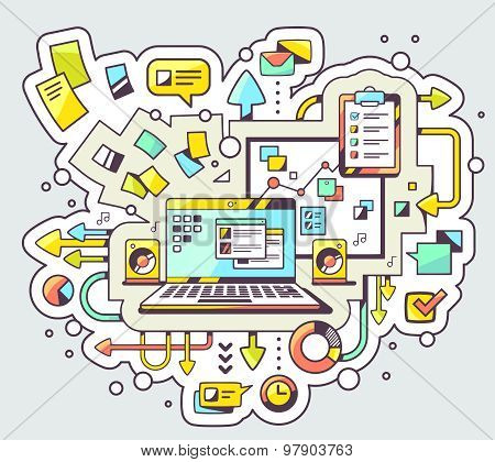 Vector Color Illustration Of Laptop And Business Processes On Light Background.