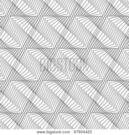 Black And White Geometric Seamless Pattern In Modern Stylish With Zigzag Line, Abstract Background.