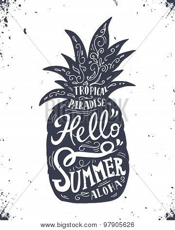 Hand Drawn Vintage Label With Pineapple And Lettering