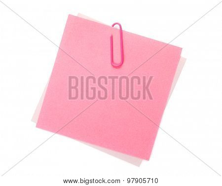 Colorful post-it notes with clip. Isolated on white background
