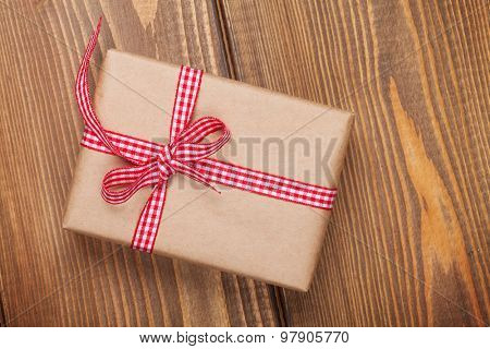 Gift boxe on wooden table background