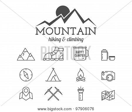 Summer mountain camp badge, logo template and label. Travel, hiking, climbing line icons. Thin and o