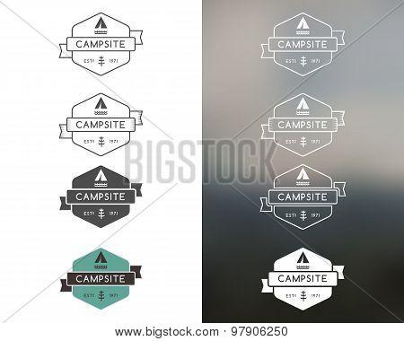 Set of outdoor adventure and forest camp, hiking badge logo, emblem logo, label design. Monochrome,