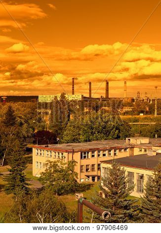 Landscape with extractive industry in Most in Czech republic, sunset sky