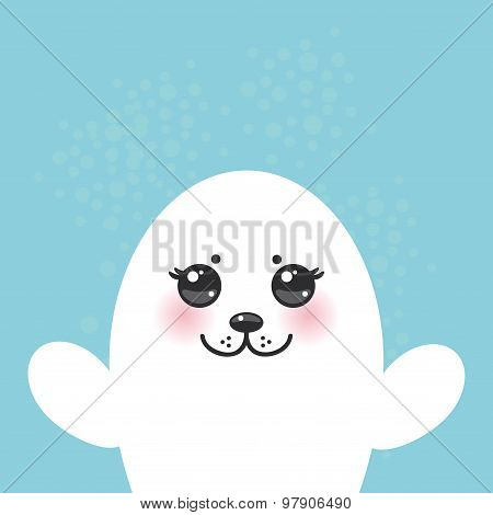 card design Funny white fur seal pups, cute seals with pink cheeks and big eyes. Kawaii animals albi