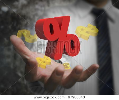 Businessman Hand Showing Red Percentage Sign With Golden Dollar Signs