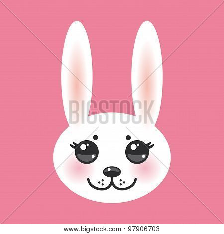 Kawaii funny animal muzzle white rabbit on pink background with pink cheeks and big black eyes. Vect