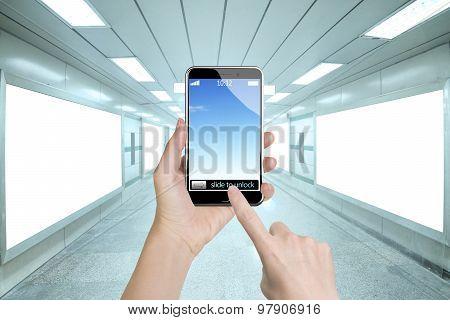 Female Hands Holding Smart Phone Finger Touching Screen