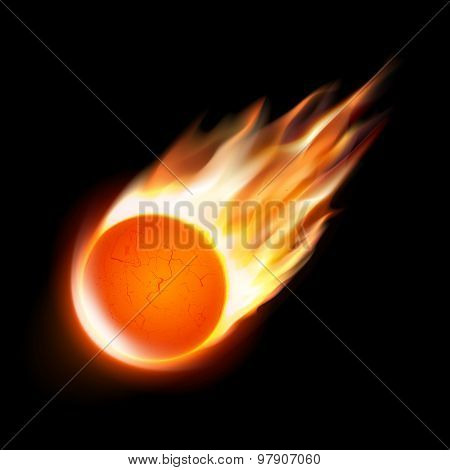 Isolated comet on black background. Vector illustration.