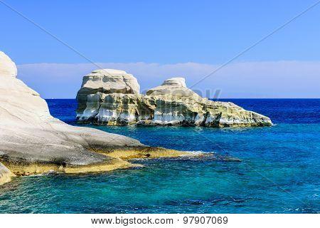 Scenic bizarre rock in the sea