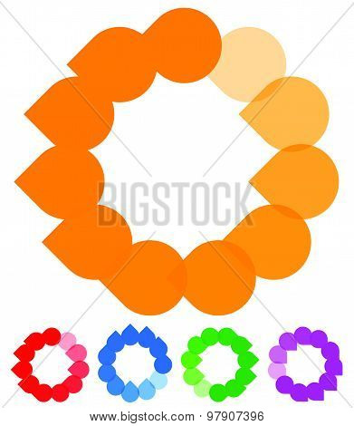 Circular Preloader, Buffer Shapes. Colorful Progress Indicator Icon Set With Four Steps, Phases. Rot