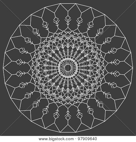 Hand Drawn Ornamental Ethnic Round. Handmade Lace Abstract Artwork Pattern