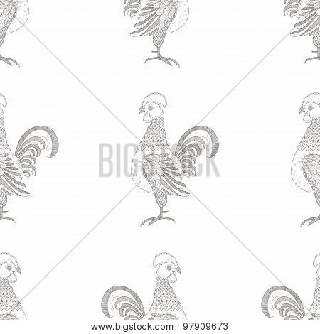 Vector seamless pattern. Rooster ornaments. Decorative line art
