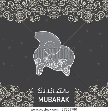 Greeting card template for Muslim Community Festival  of sacrifice Eid-Ul-Adha with flat sheep illus