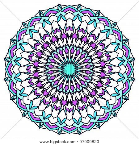 Hand-drawing Round Ornamental Floral Abstract Background With Many Details