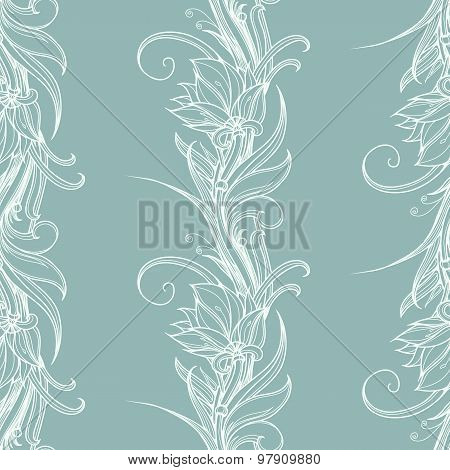 Lotus Graphics. Vector seamless pattern from white lotus flowers