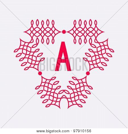 Letter A logo. Abstract vector background with outline icon. Alp