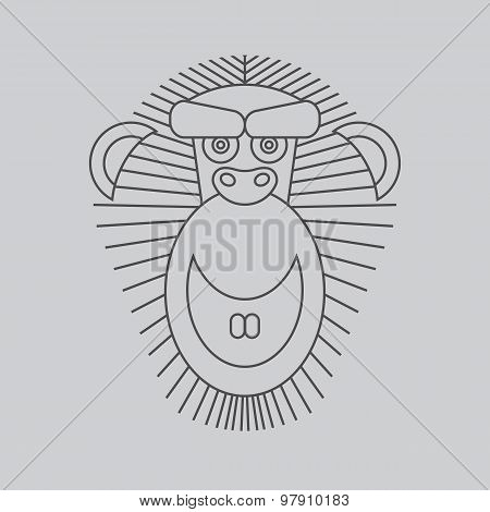 Year of the Monkey: Chinese Zodiac 2016. Vector Monkey animal si