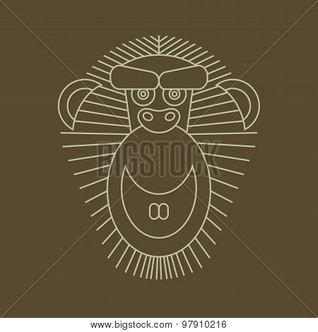 Year of the Monkey: Chinese Zodiac Sign for 2016. Vector Animal