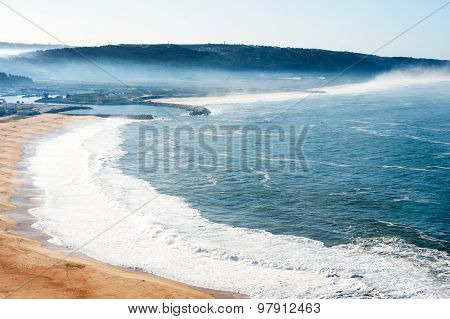 View Of Seaside Village Of Nazare Portugal