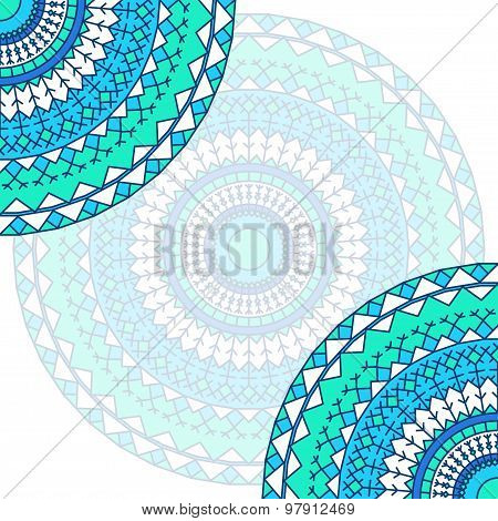 Ornamental Handmade Ethnic Card Template. Lace Abstract Artwork Background
