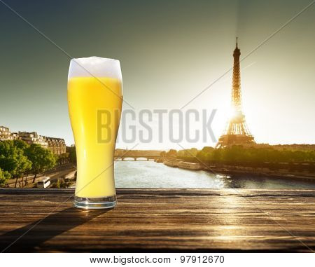 fresh  unfiltered beer and Eiffel tower, Paris, France
