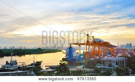 Bangkok, Thailand- July,19 2010:scenery View Point Of  Industrial Container Cargo Freight Ship With