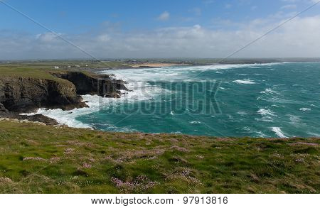North Cornwall coast view Trevose Head south in direction of Constantine Bay and Newquay