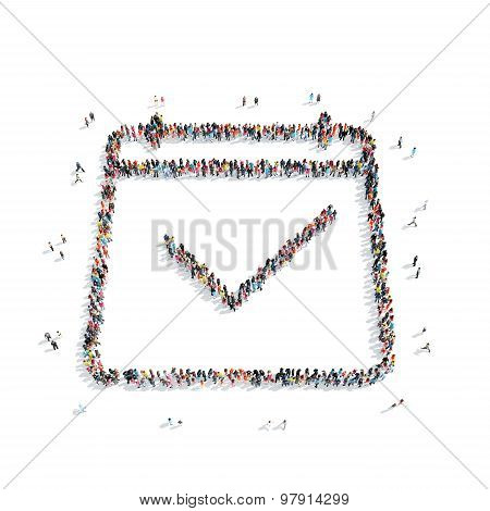 people in the shape of a check mark