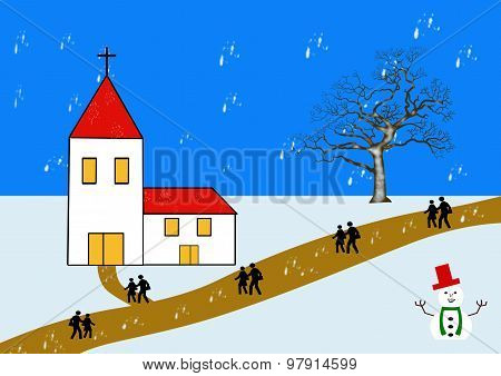 A Village Chapel In Winter With Snowman