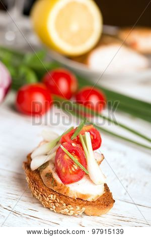 Tasty Tapas With Cheese And Onion