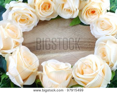 artificial and fake orange rose frame background