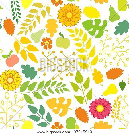 Seamless Pattern With Flowers And Foliage On A White Background