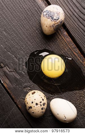 Quail Eggs On A Dark Table
