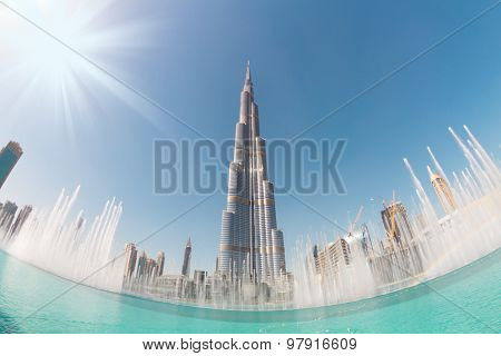 Burj Khalifa and Dubai Fountain in Dubai.