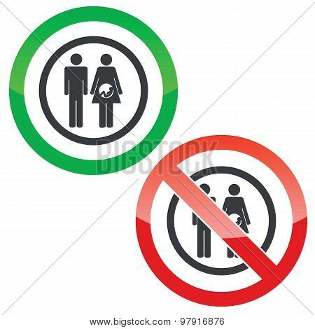 Young family permission signs