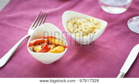Selection Of Garnishes: Sauteed Vegetables And Orzo Rizotto