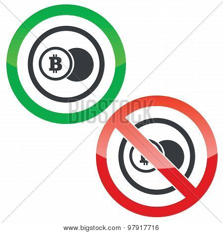Bitcoin coin permission signs