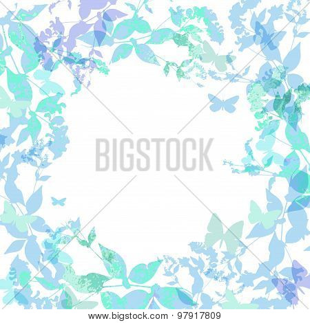 Spring background, Colorful butterflies set wreath with green mint leaves, watercolor. Round banner