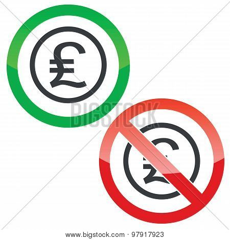 Pound sterling permission signs