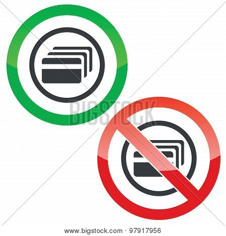 Credit card permission signs