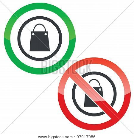 Shopping permission signs