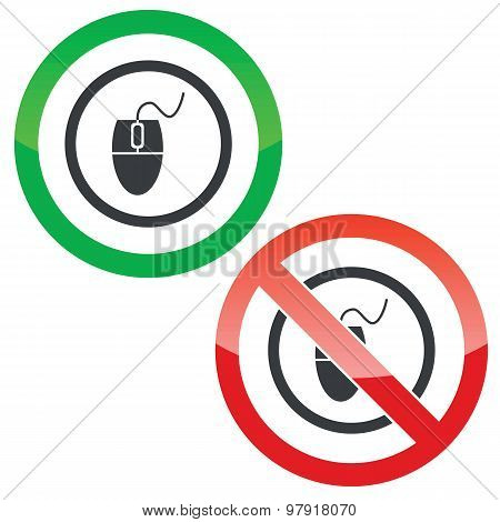 Computer mouse permission signs