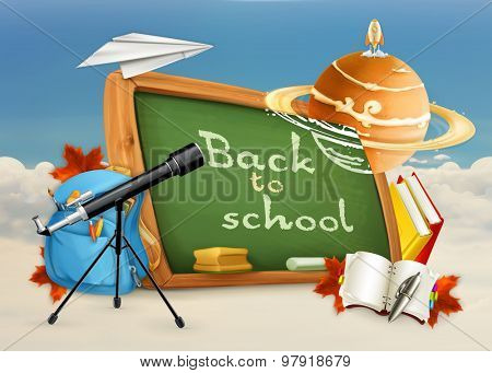 Astronomy, education and training, back to school vector background