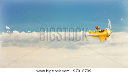 Rush after own dream, funny cartoon aviator in the sky, vector illustration